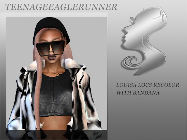 Sims 4 Louisa Locs with Bandana Recolor at Teenageeaglerunner