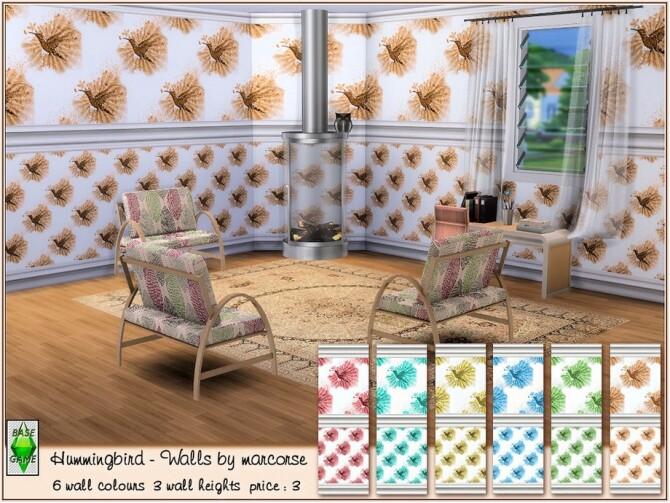 Sims 4 Hummingbird Walls by marcorse at TSR