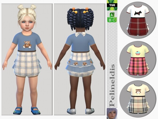 Sims 4 Toddler Tartan Playsuit by Pelineldis at TSR