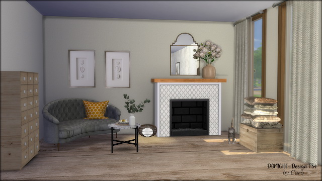 Sims 4 Cozy August: Sofa, fireplace, curtains, pillows at DOMICILE Design TS4