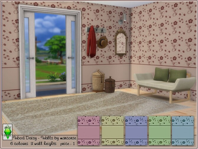 Wood Daisy Walls by marcorse at TSR image 2614 670x503 Sims 4 Updates