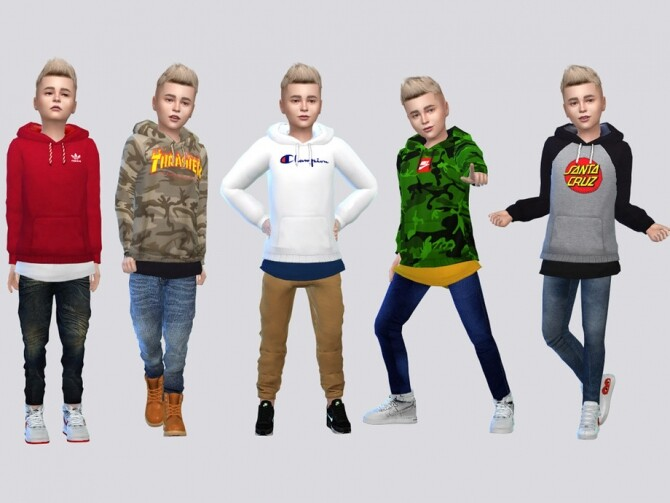 Sims 4 Soren Hoodies Kids by McLayneSims at TSR