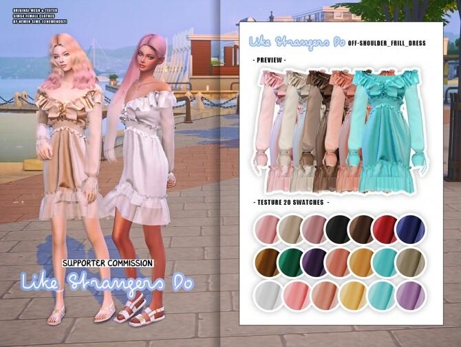 Sims 4 Off shoulder Frill Dress & Frill Ribbon Dress at NEWEN