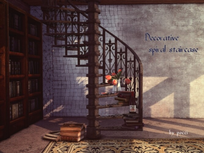 Decorative spiral staircase for SIms4 by pocci
