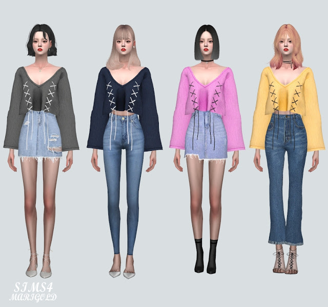 Sims 4 Z Lace Up Sweater at Marigold