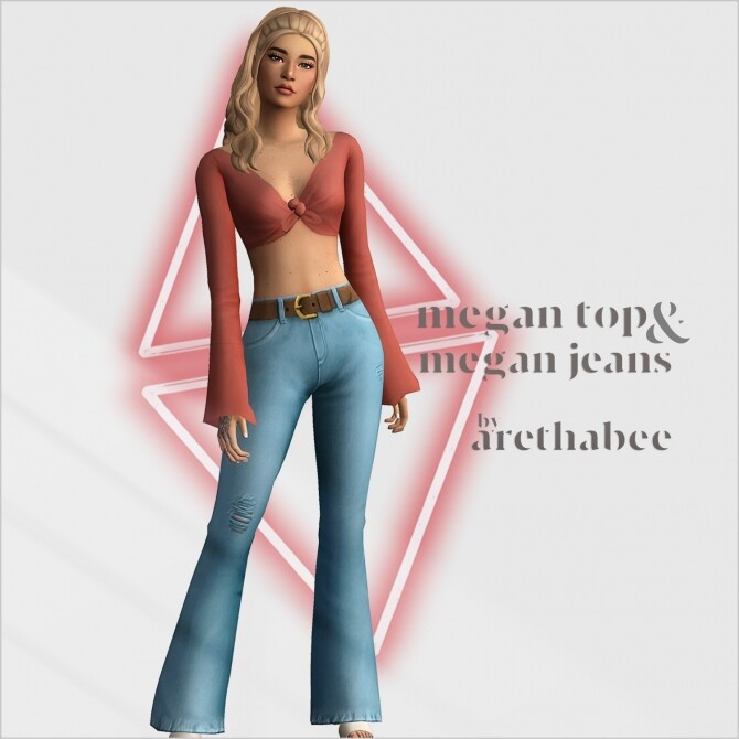 Megan tied top and jeans at Arethabee image 2782 670x670 Sims 4 Updates