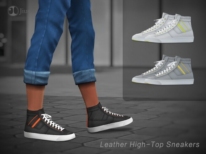 Leather High Top Sneakers 01 by Jius at TSR image 2810 670x503 Sims 4 Updates