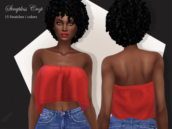 Sims 4 Strapless Crop Top by pizazz at TSR