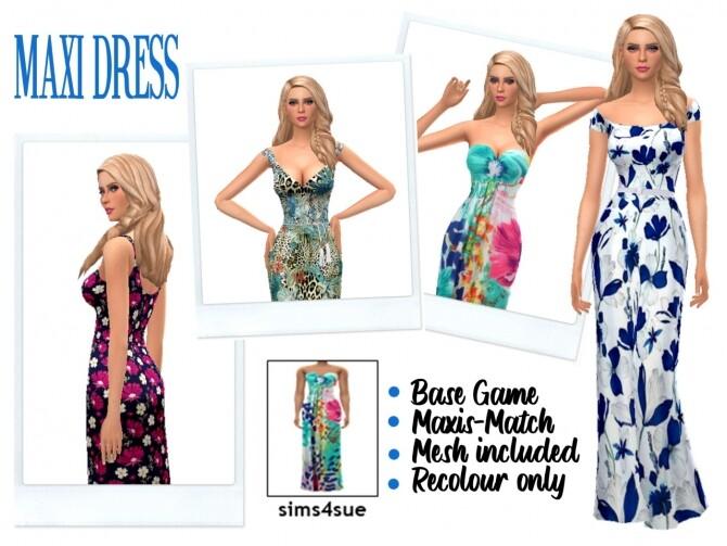 Sims 4 MAXI DRESS at Sims4Sue