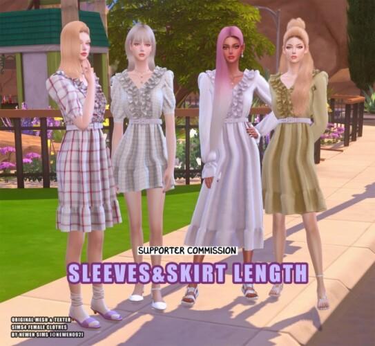 Frill Dress Sleeves Skirt Length