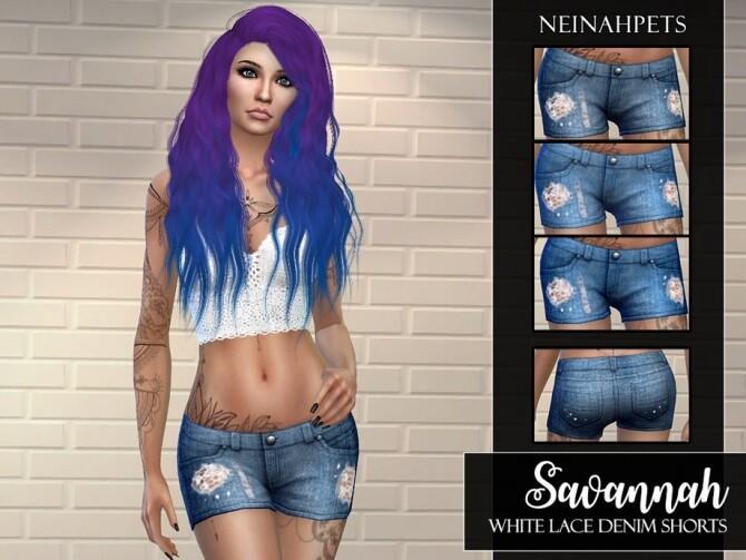 Sims 4 Savannah White Lace Denim Shorts by neinahpets at TSR