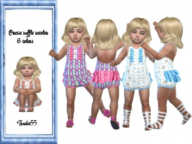 Sims 4 Onesie ruffle jumpsuit by TrudieOpp at TSR