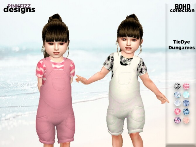 Sims 4 Boho Toddler Tie Dye Dungarees by Pinkfizzzzz at TSR