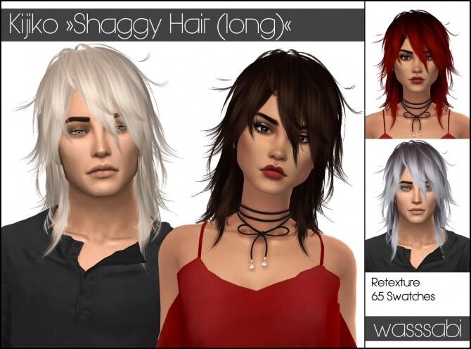 Sims 4 Kijikos Shaggy Long Hair retextured at Wasssabi Sims