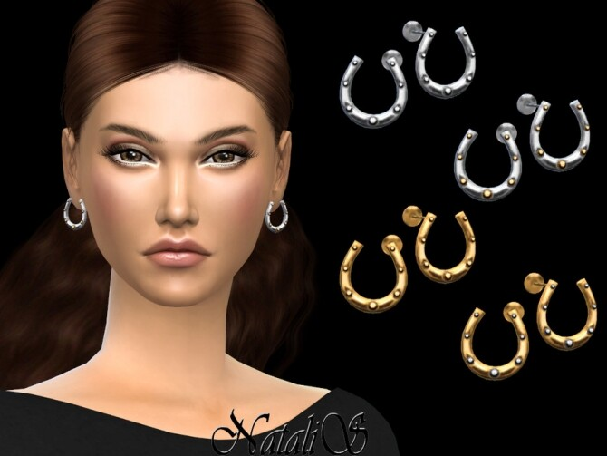 Sims 4 Horseshoe stud earrings by NataliS at TSR