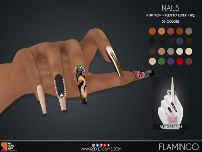 FLAMINGO NAILS by Thiago Mitchell at REDHEADSIMS image 2961 670x503 Sims 4 Updates