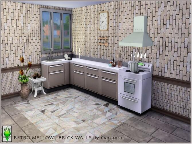 Sims 4 Retro Mellow Brick Walls by marcorse at TSR