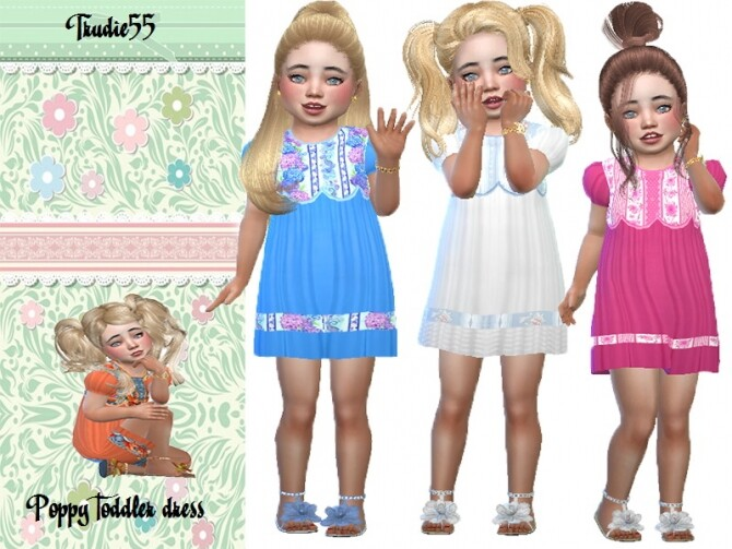 Sims 4 Poppy toddler dress by TrudieOpp at TSR