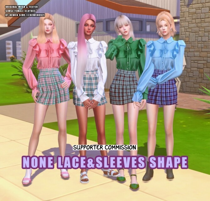 Sims 4 Frill Blouse None Lace & Sleeves Shape at NEWEN