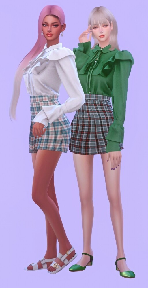 Frill Blouse None Lace & Sleeves Shape at NEWEN image 3211 513x1000 Sims 4 Updates