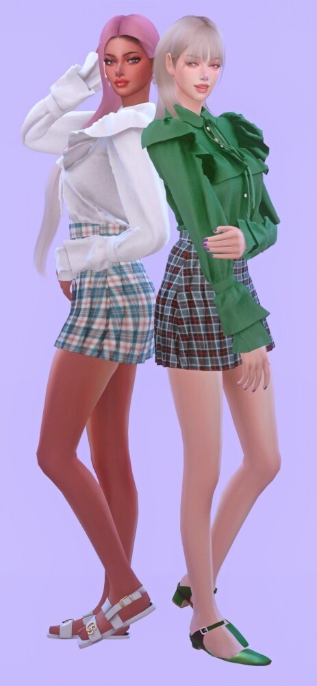 Frill Blouse None Lace & Sleeves Shape at NEWEN image 3221 463x1000 Sims 4 Updates