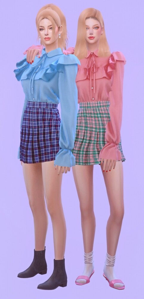 Frill Blouse None Lace & Sleeves Shape at NEWEN image 3241 483x1000 Sims 4 Updates