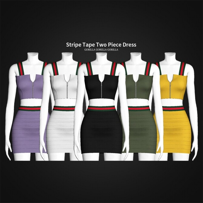 Stripe Tape Two Piece Dress at Gorilla image 3272 670x670 Sims 4 Updates