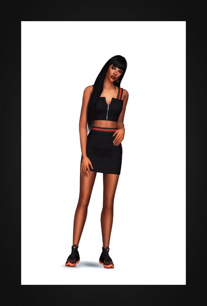 Stripe Tape Two Piece Dress at Gorilla image 3282 670x990 Sims 4 Updates