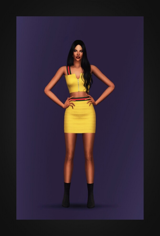 Stripe Tape Two Piece Dress at Gorilla image 3291 670x990 Sims 4 Updates