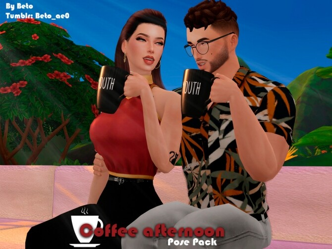 Coffee afternoon Pose pack by Beto ae0 at TSR image 330 670x503 Sims 4 Updates