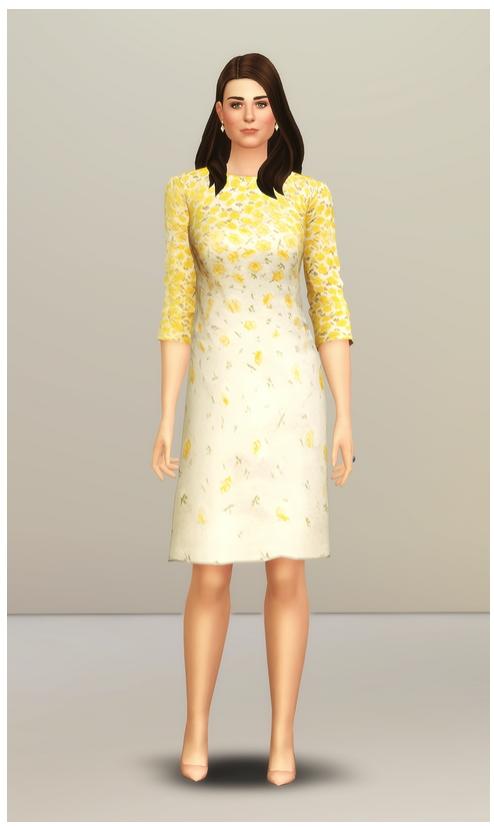 Sims 4 Yellow Floral Dress at Rusty Nail