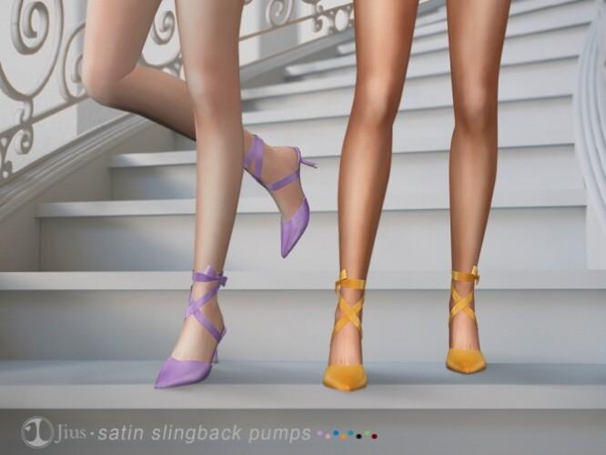 Satin slingback pumps 01 by Jius