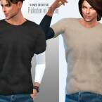 Men T-shirt with long sleeves without print by Sims House