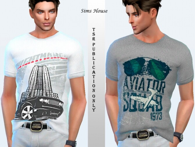 Sims 4 Mens T shirt with car print by Sims House at TSR