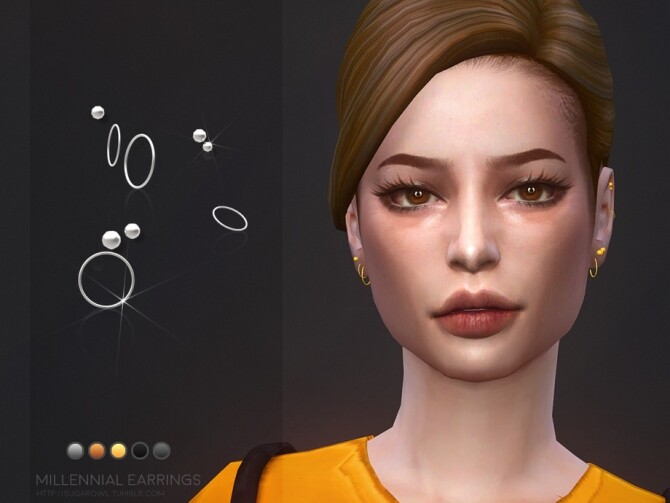 Sims 4 Millennial earrings by sugar owl at TSR