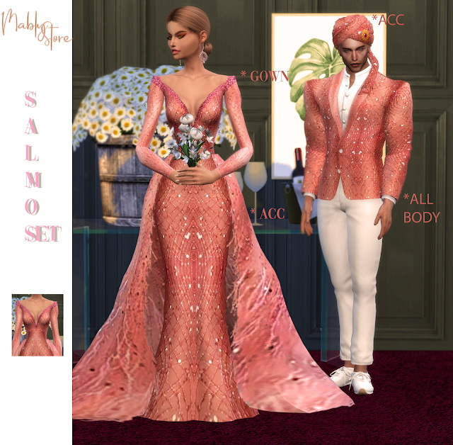 Sims 4 SALMON SET at Mably Store