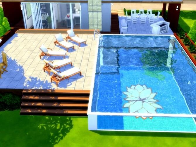 Sims 4 Zen poolhouse by GenkaiHaretsu at TSR