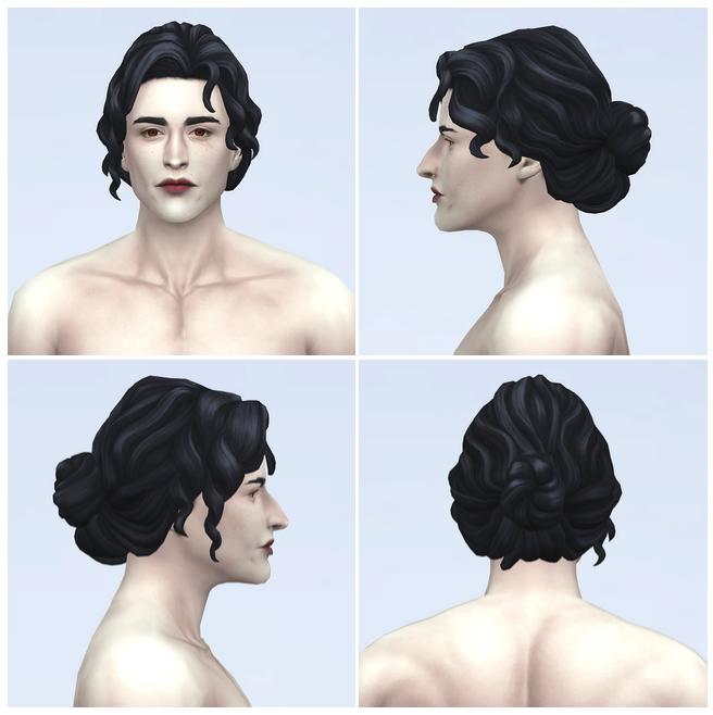 Sims 4 Curly bun male hair at Rusty Nail