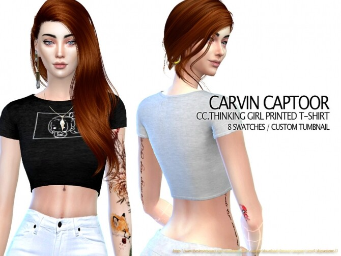 Thinking Girl Printed T shirt by carvin captoor at TSR image 3912 670x503 Sims 4 Updates