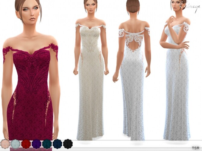 Sims 4 Off The Shoulder Lace Gown by ekinege at TSR