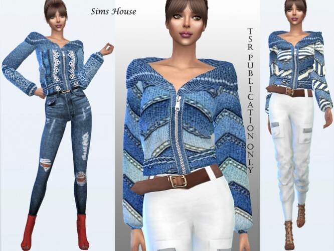 Boho Denim Jacket With Turn-Down Collar by Sims House