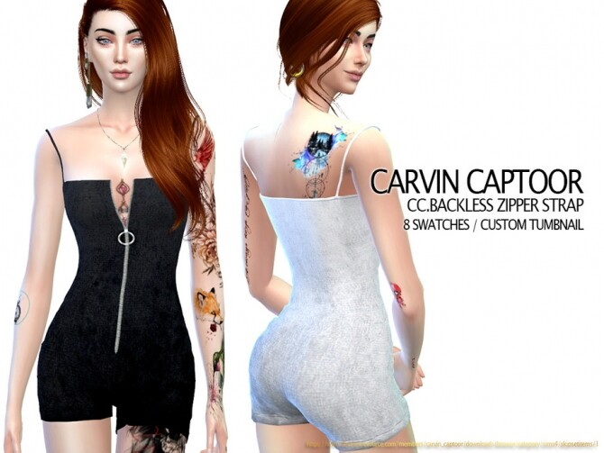 Sims 4 Backless zipper strap by carvin captoor at TSR