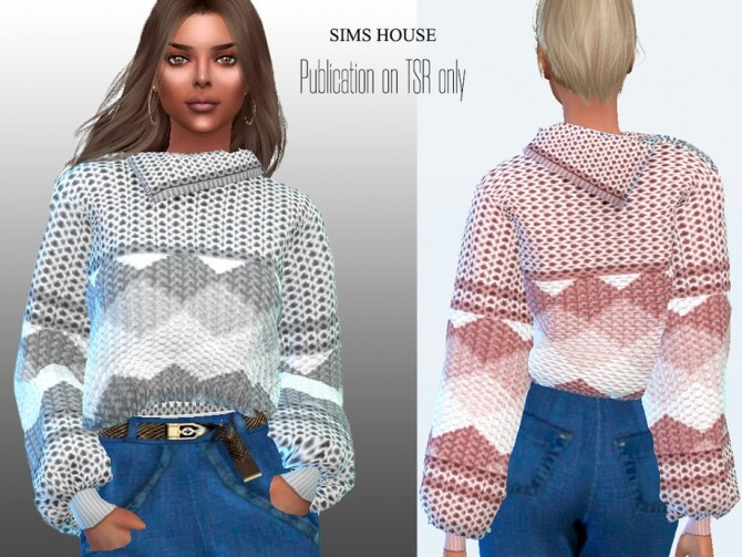 Sims 4 Womens Knitted Sweater with Zip Neck and Rhombuses by Sims House at TSR