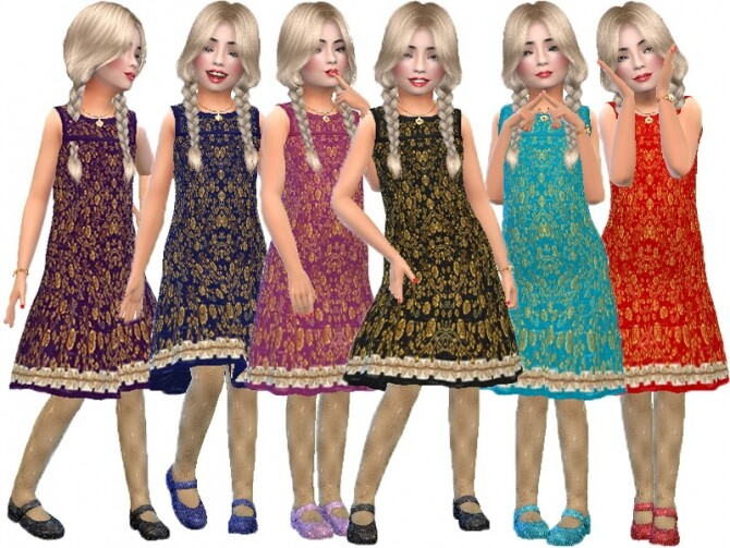Sims 4 Gold lace formal dress by TrudieOpp at TSR
