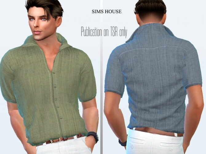 Mens linen shirt with short sleeves plain by Sims House at TSR image 417 670x503 Sims 4 Updates