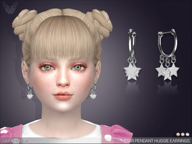 Sims 4 Star Drop Huggie Earrings For Kids by feyona at TSR