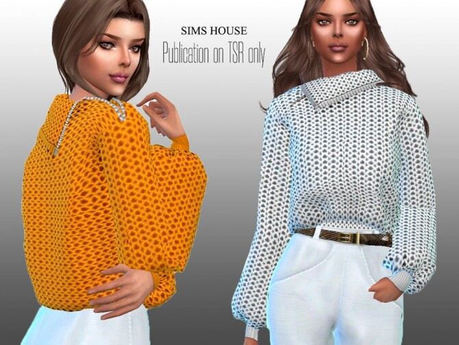 Sims 4 Womens Chunky Knit Sweater with Zip Neck by Sims House at TSR