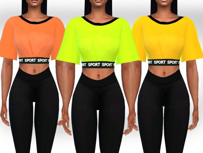 Female Athletic and Casual Neon Tops by Saliwa at TSR image 439 670x503 Sims 4 Updates