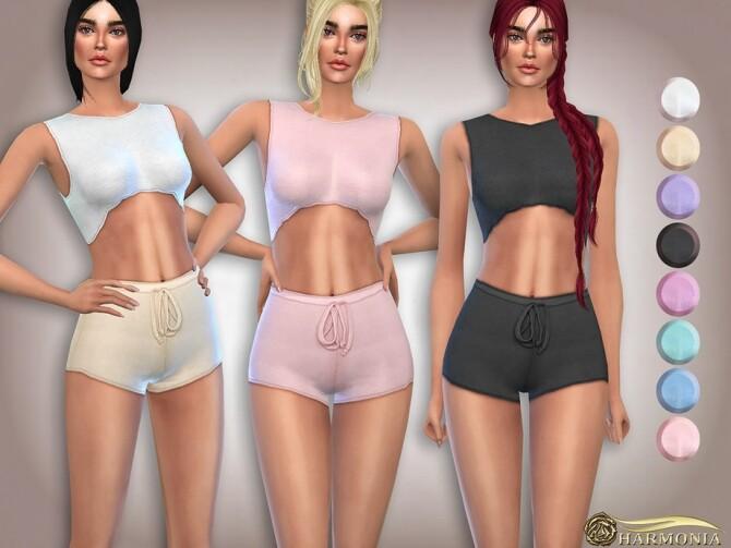 Sims 4 Frill Edge Sleeveless CROP TOP by Harmonia at TSR
