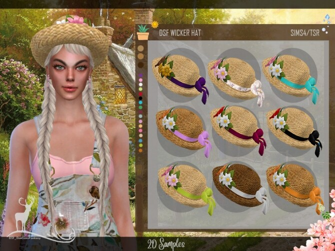 Sims 4 WICKER HAT by DanSimsFantasy at TSR